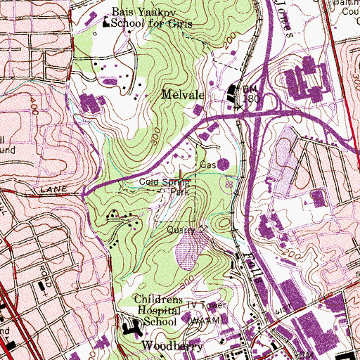 Topographic Map of Cold Spring Park, MD