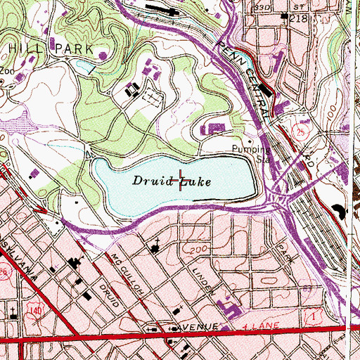 Topographic Map of Druid Lake, MD