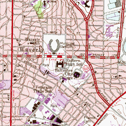 Topographic Map of Eastern High School (historical), MD