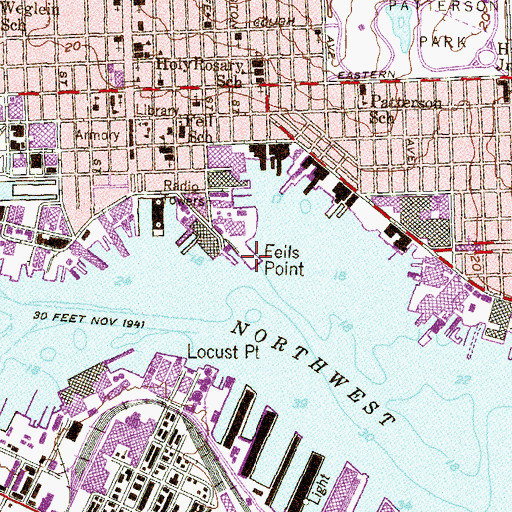 Topographic Map of Fells Point, MD