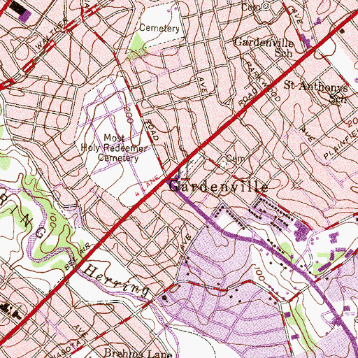 Topographic Map of Gardenville, MD