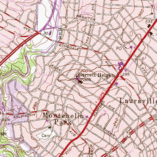 Topographic Map of Garrett Heights Elementary - Middle School, MD