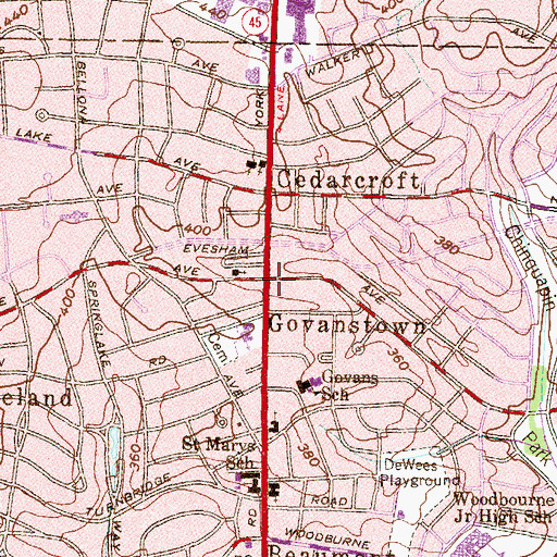 Topographic Map of Govanstown, MD
