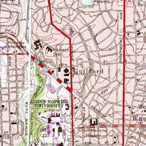 Topographic Map of Guilford, MD