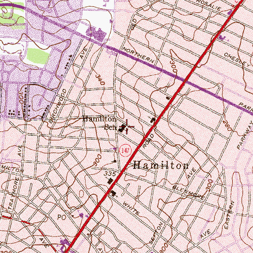 Topographic Map of Hamilton Elementary / Middle School, MD