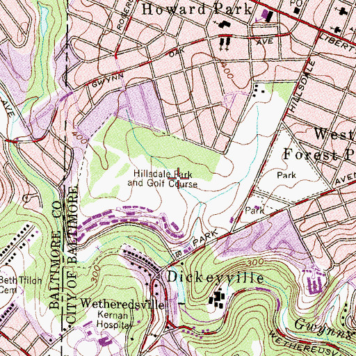 Topographic Map of Hillsdale Park and Golf Course, MD