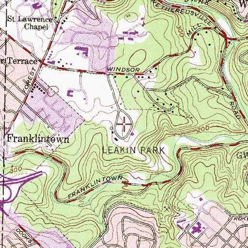 Topographic Map of Leakin Park, MD