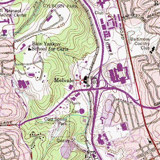 Topographic Map of Melvale, MD
