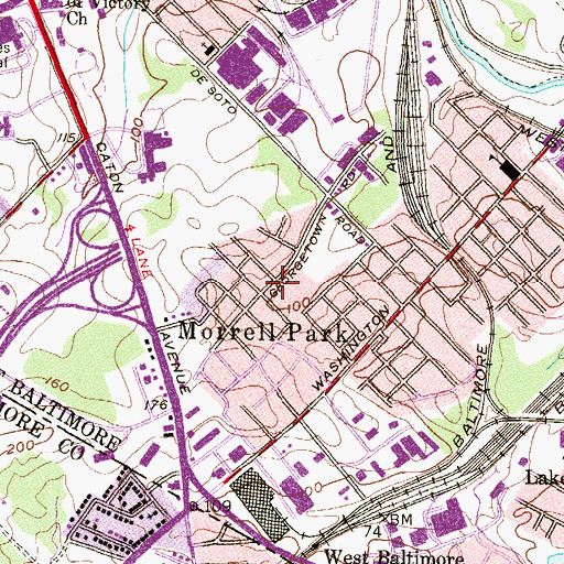 Topographic Map of Morrell Park, MD