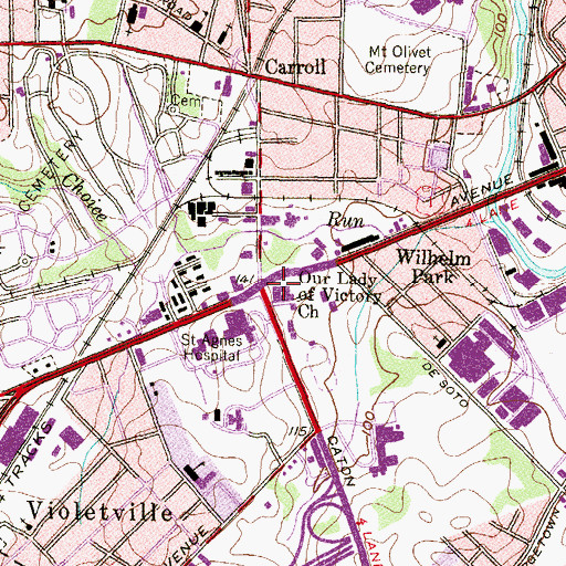 Topographic Map of Our Lady of Victory Church, MD