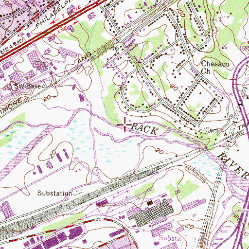 Topographic Map of Redhouse Creek, MD