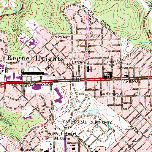 Topographic Map of Rognel Heights, MD