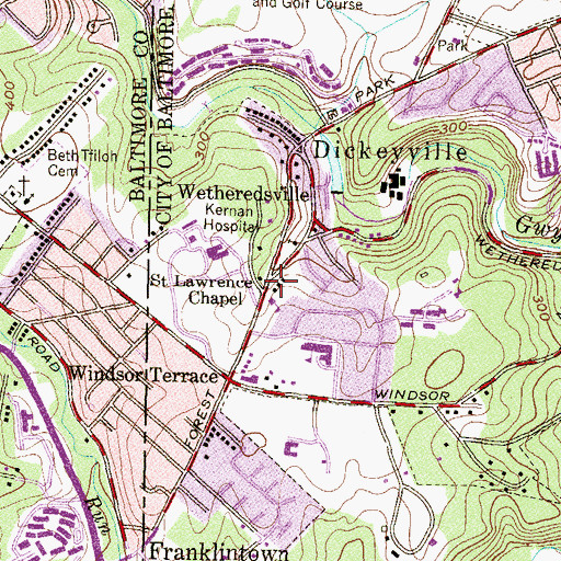 Topographic Map of Saint Lawrence Chapel, MD