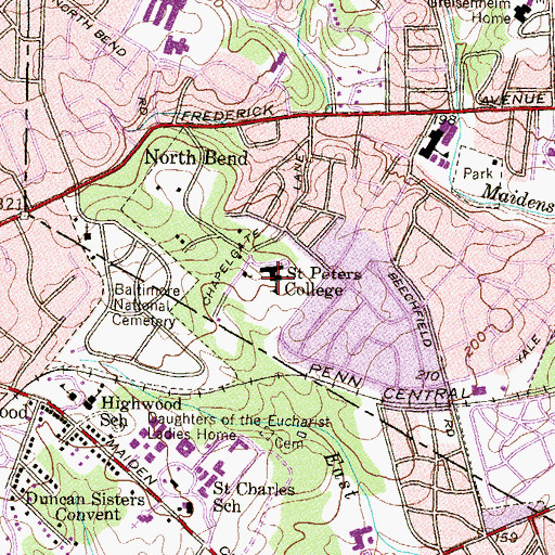 Topographic Map of Saint Peters College, MD