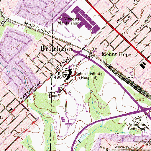 Topographic Map of Seton Institute, MD