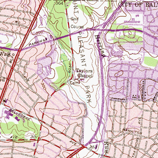 Topographic Map of Taylors Chapel, MD
