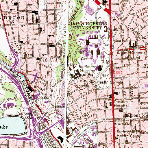 Topographic Map of United States Public Health Services Hospital, MD
