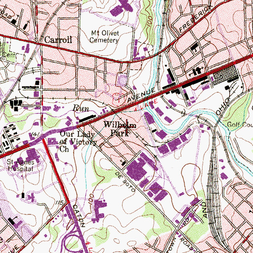 Topographic Map of Wilhelm Park, MD