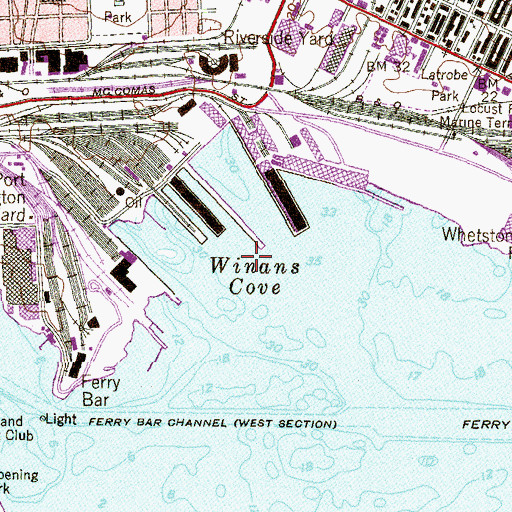 Topographic Map of Winans Cove, MD