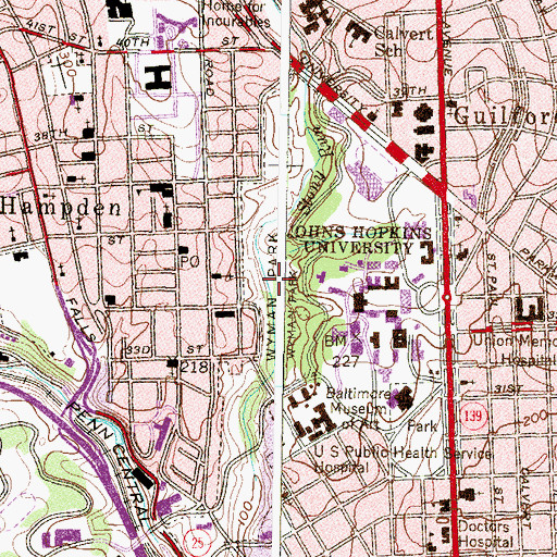 Topographic Map of Wyman Park, MD