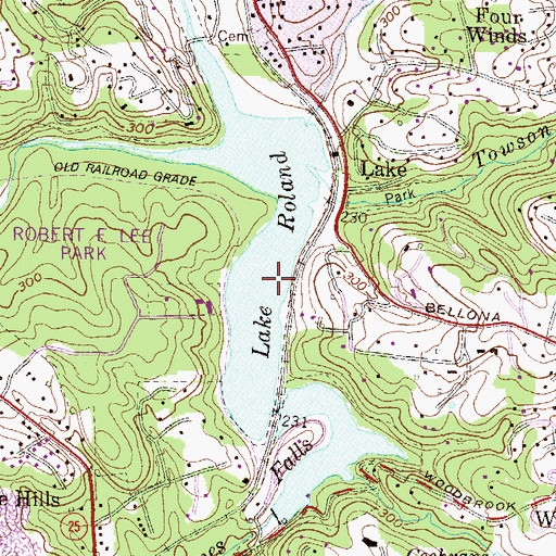 Topographic Map of Lake Roland, MD