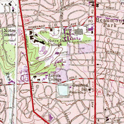 Topographic Map of Guilford Reservoir, MD