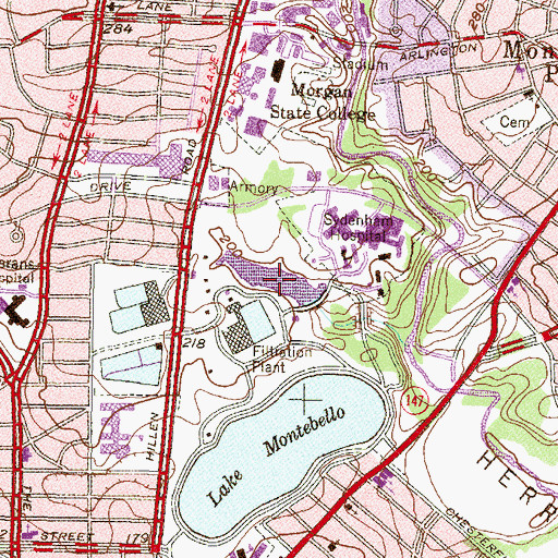 Topographic Map of Montebello Waste Water Lake, MD