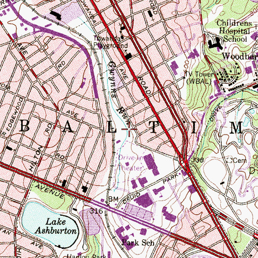 Topographic Map of WEBB-AM (Baltimore), MD