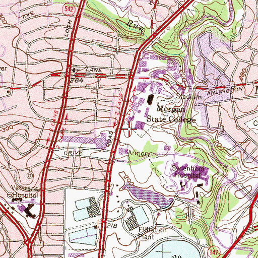Topographic Map of WEAA-FM (Baltimore), MD
