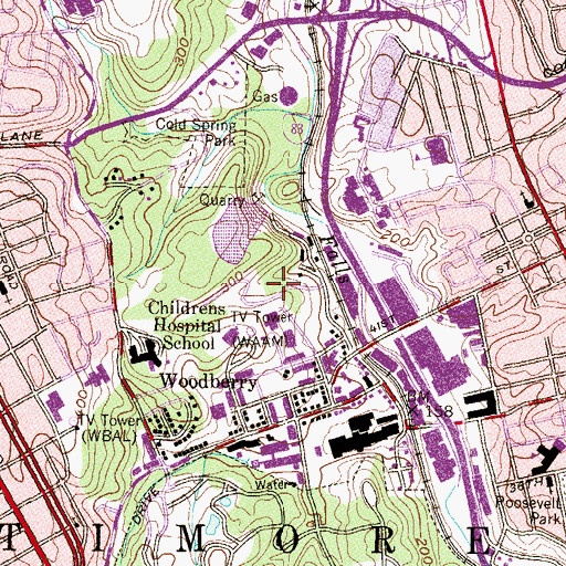 Topographic Map of WBFF-TV (Baltimore), MD