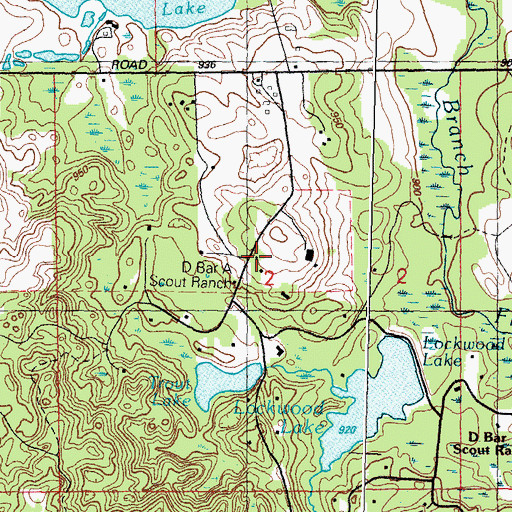 Topographic Map of D Bar A Scout Ranch, MI