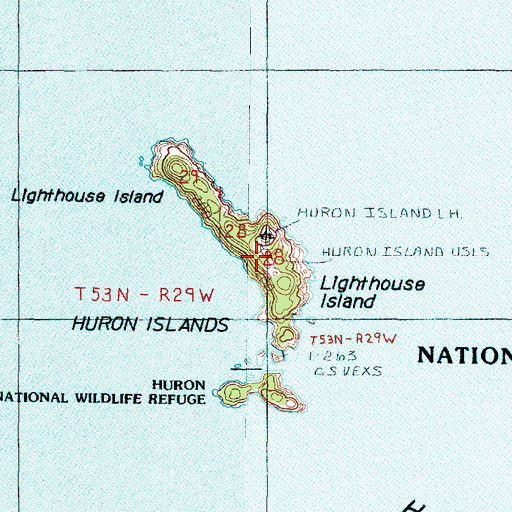 Topographic Map of Lighthouse Island, MI