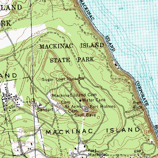 Topographic Map of Sugar Loaf Rock, MI