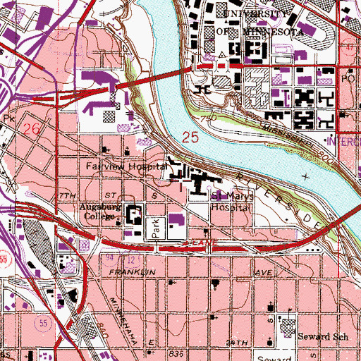 Topographic Map of University of Minnesota Medical Center Fairview - West Bank, MN