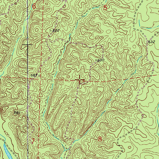 Topographic Map of Hickory Flats, AR