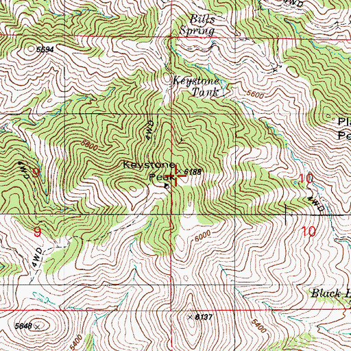 Topographic Map of Keystone Peak, AZ