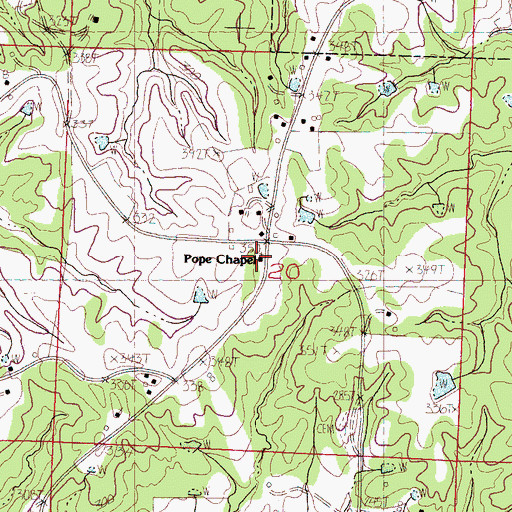 Topographic Map of Pope Chapel School, MS