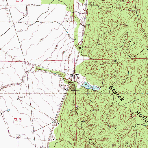 Topographic Map of Starck Hollow, MS