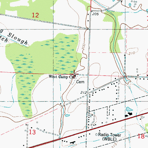 Topographic Map of West Camp Church, MS