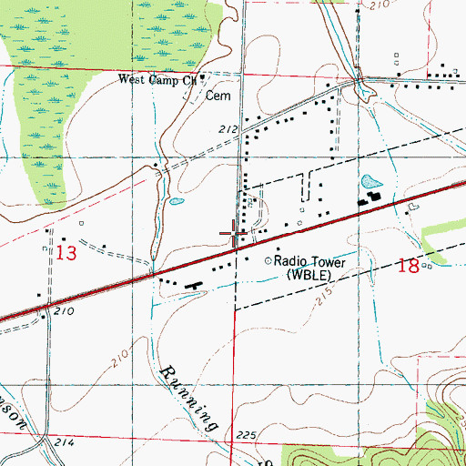 Topographic Map of WBLE-FM (Batesville), MS