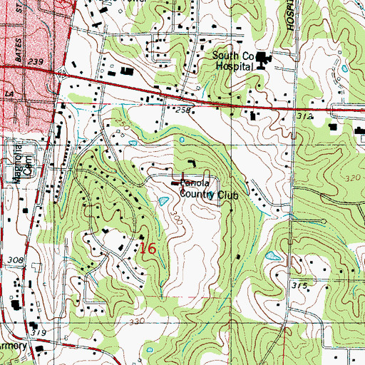Topographic Map of Panola Country Club, MS