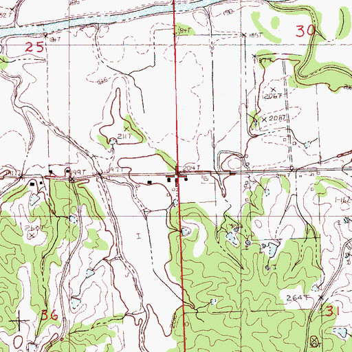 Topographic Map of Pharsalia Church (historical), MS