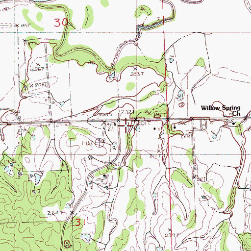 Topographic Map of Pleasant Grove School (historical), MS