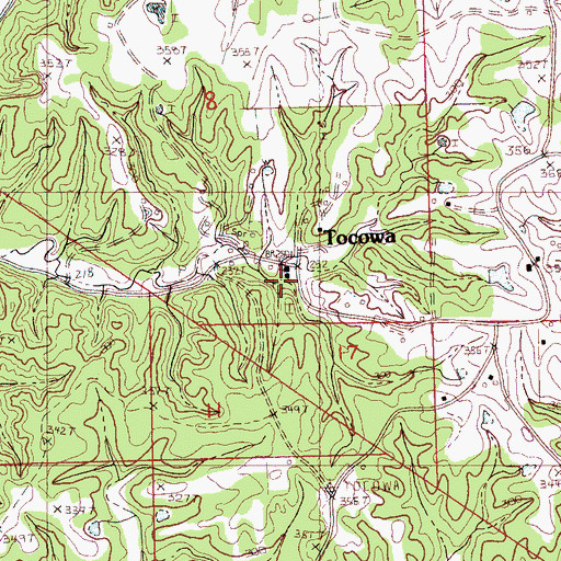 Topographic Map of Tocowa, MS