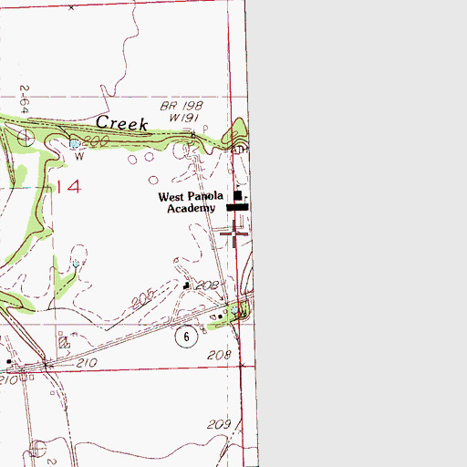 Topographic Map of West Panola Academy, MS