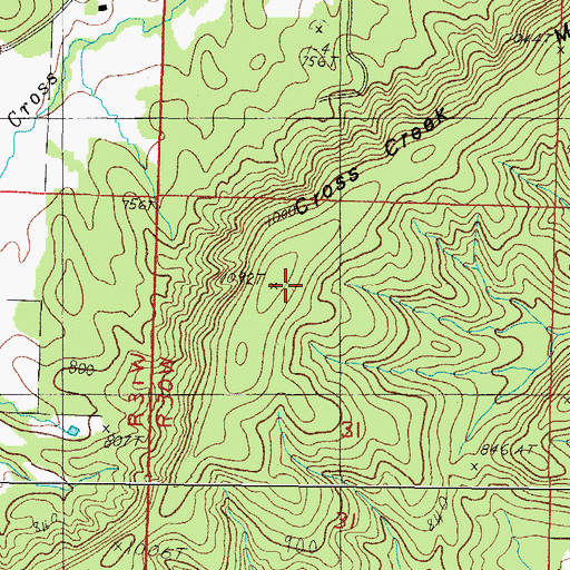 Topographic Map of Cross Creek Mountain, AR
