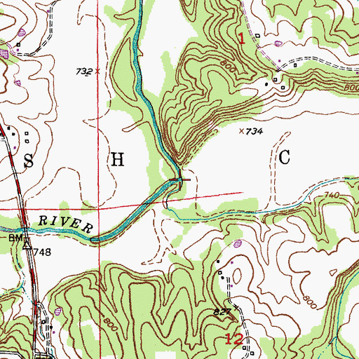 Topographic Map of Brush Creek, MO
