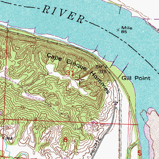 Topographic Map of Cape Cinque Hommes, MO