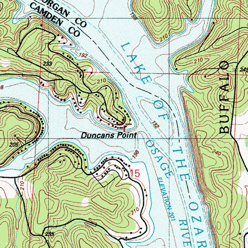 Topographic Map of Duncans Point, MO