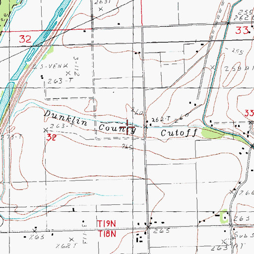 Topographic Map of Dunklin County Cut-off, MO